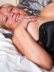 Naughty European housewife playing with herself