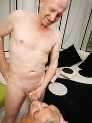 Horny blonde babe doing an old dirty dude