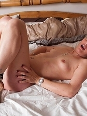 Horny blonde housewife riding her pussy