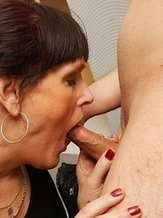 Naughty cougar sucking and fucking her younger boyfriend