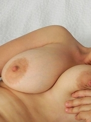 Horny hot housewife with great boobs playing with herself